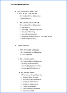 list of mentors